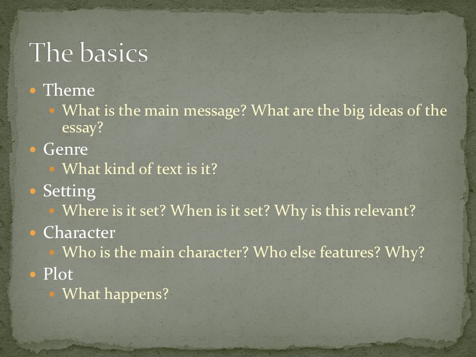 the main themes of the story essay Theme in the lottery essaysin shirley jackson's the lottery, the author maintains use of many themes throughout the story most of these themes are universal in a sense.