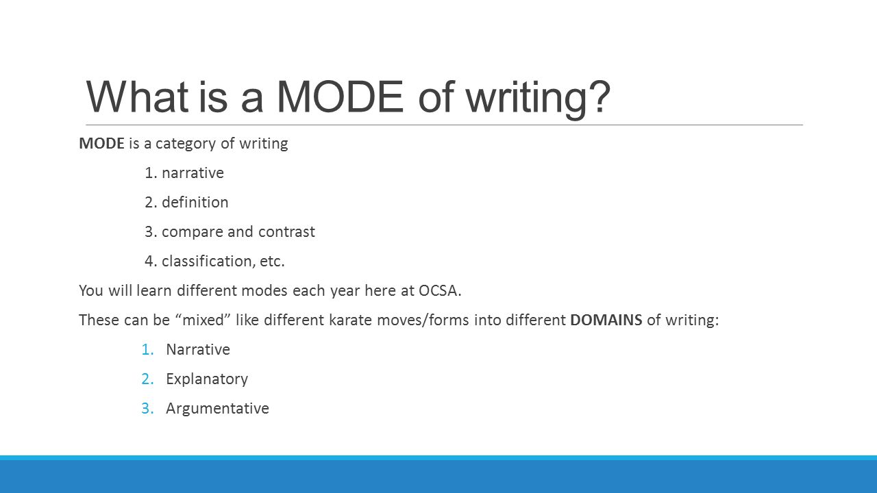 What are the four modes of discourse in writing an essay...and define them ..?