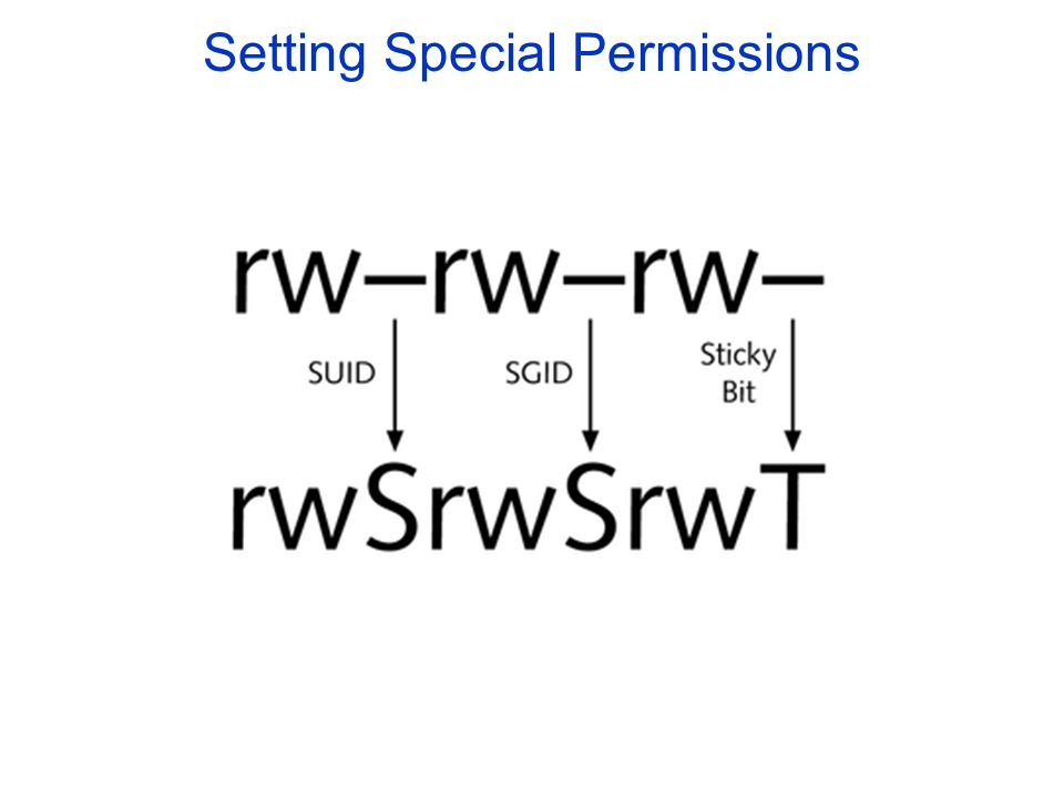 Setting Special Permissions Figure 5-8: Representing special permissions in the absence of the execute permissions