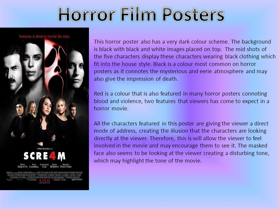 This horror poster also has a very dark colour scheme.