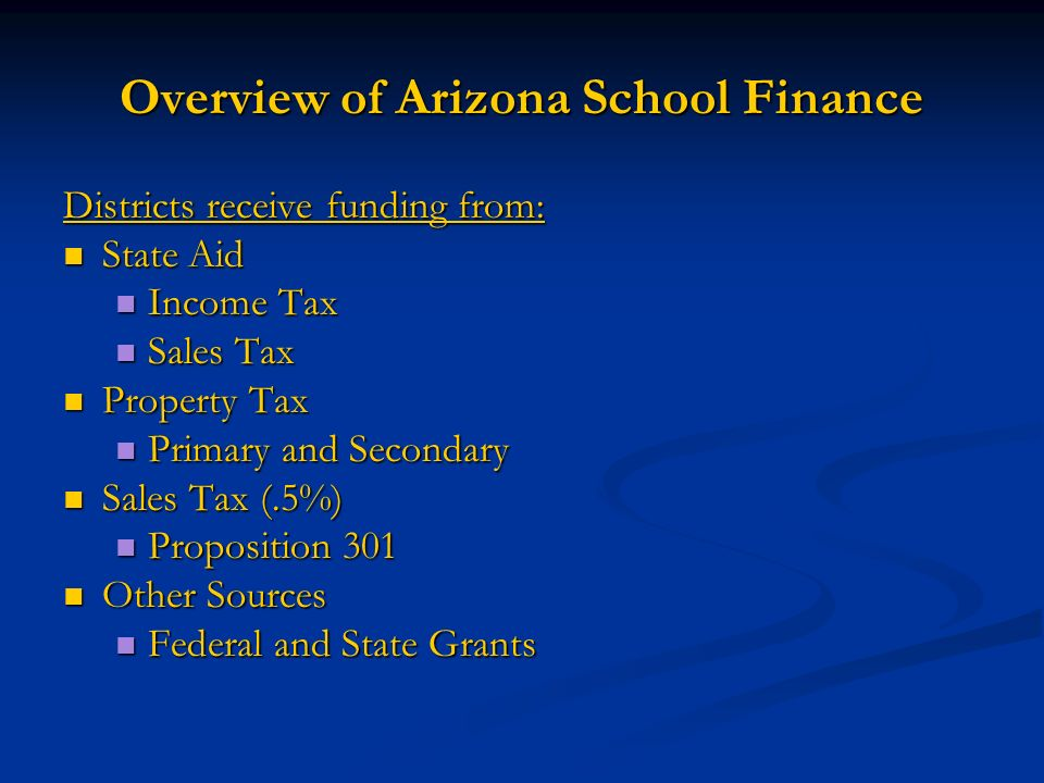 Overview of Arizona School Finance Districts receive funding from: State Aid State Aid Income Tax Income Tax Sales Tax Sales Tax Property Tax Property Tax Primary and Secondary Primary and Secondary Sales Tax (.5%) Sales Tax (.5%) Proposition 301 Proposition 301 Other Sources Other Sources Federal and State Grants Federal and State Grants