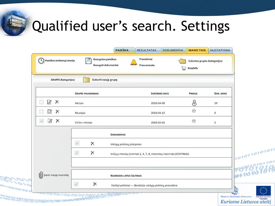 Qualified user's search. Settings