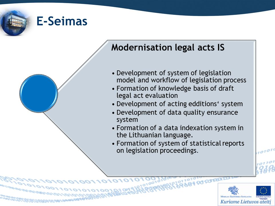 E-Seimas Modernisation legal acts IS Development of system of legislation model and workflow of legislation process Formation of knowledge basis of draft legal act evaluation Development of acting edditions' system Development of data quality ensurance system Formation of a data indexation system in the Lithuanian language.