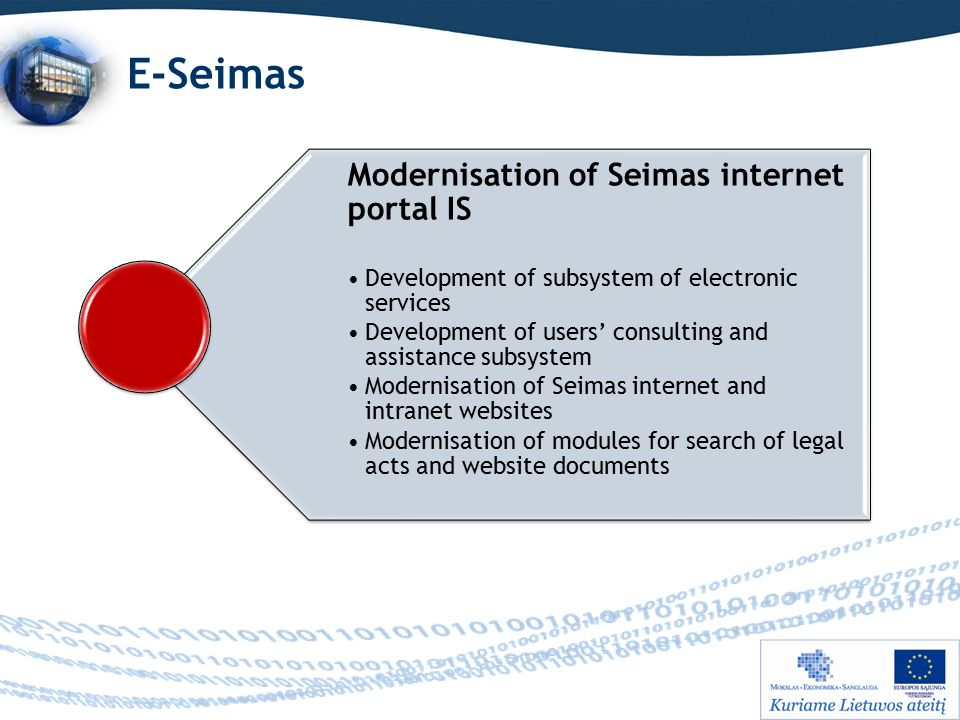 E-Seimas Modernisation of Seimas internet portal IS Development of subsystem of electronic services Development of users' consulting and assistance subsystem Modernisation of Seimas internet and intranet websites Modernisation of modules for search of legal acts and website documents