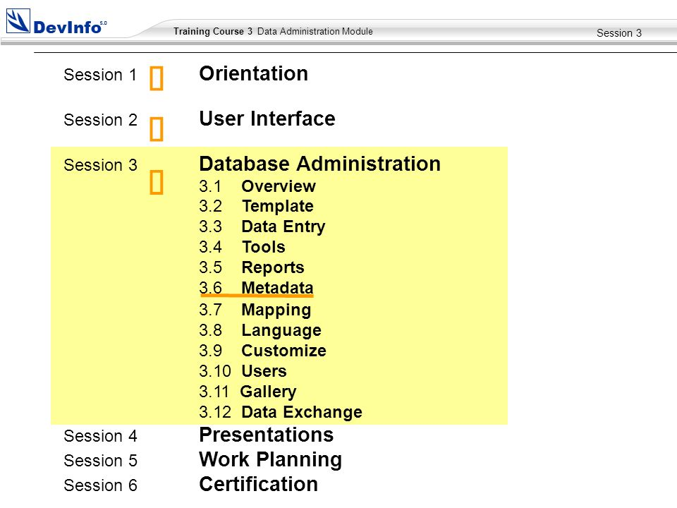 Training Course 2 User Module Training Course 3 Data Administration Module Session 3 Session 1 Orientation Session 2 User Interface Session 3 Database Administration 3.1 Overview 3.2 Template 3.3 Data Entry 3.4 Tools 3.5 Reports 3.6 Metadata 3.7 Mapping 3.8 Language 3.9 Customize 3.10 Users 3.11 Gallery 3.12 Data Exchange Session 4 Presentations Session 5 Work Planning Session 6 Certification