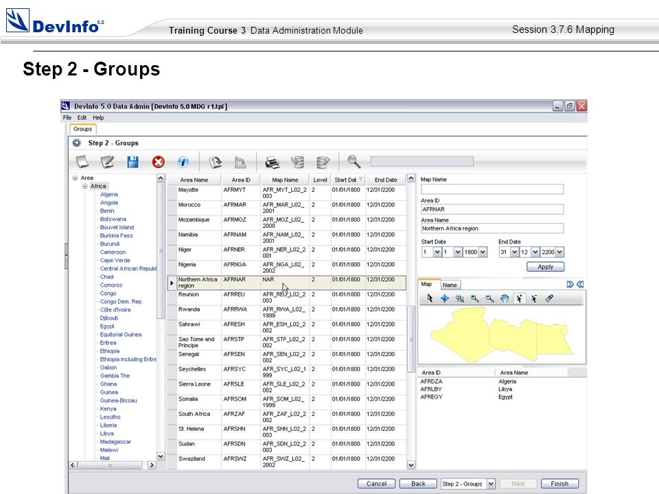Training Course 2 User Module Training Course 3 Data Administration Module Session Mapping Step 2 - Groups