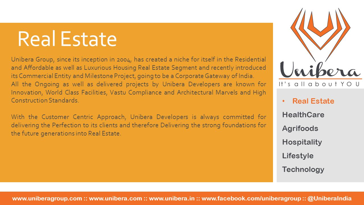 Real Estate HealthCare Agrifoods Hospitality Lifestyle Technology   ::   ::   ::   Unibera Group, since its inception in 2004, has created a niche for itself in the Residential and Affordable as well as Luxurious Housing Real Estate Segment and recently introduced its Commercial Entity and Milestone Project, going to be a Corporate Gateway of India.