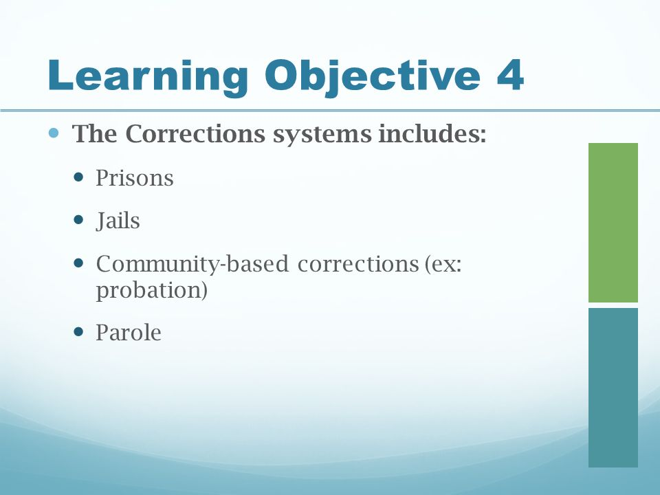 Learning Objective 4 The Corrections systems includes: Prisons Jails Community-based corrections (ex: probation) Parole