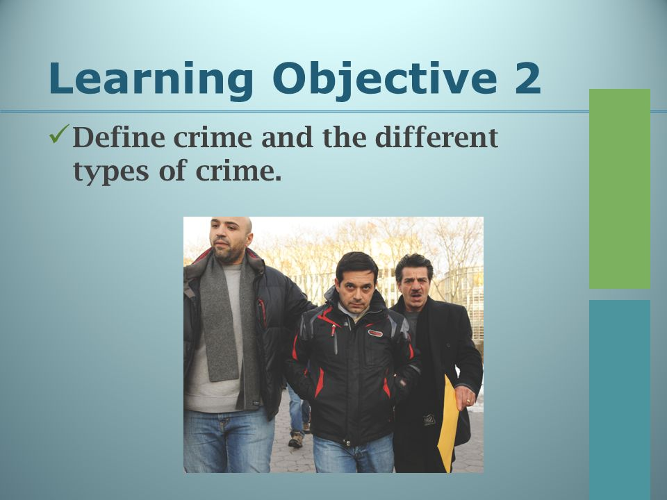 Learning Objective 2 Define crime and the different types of crime.