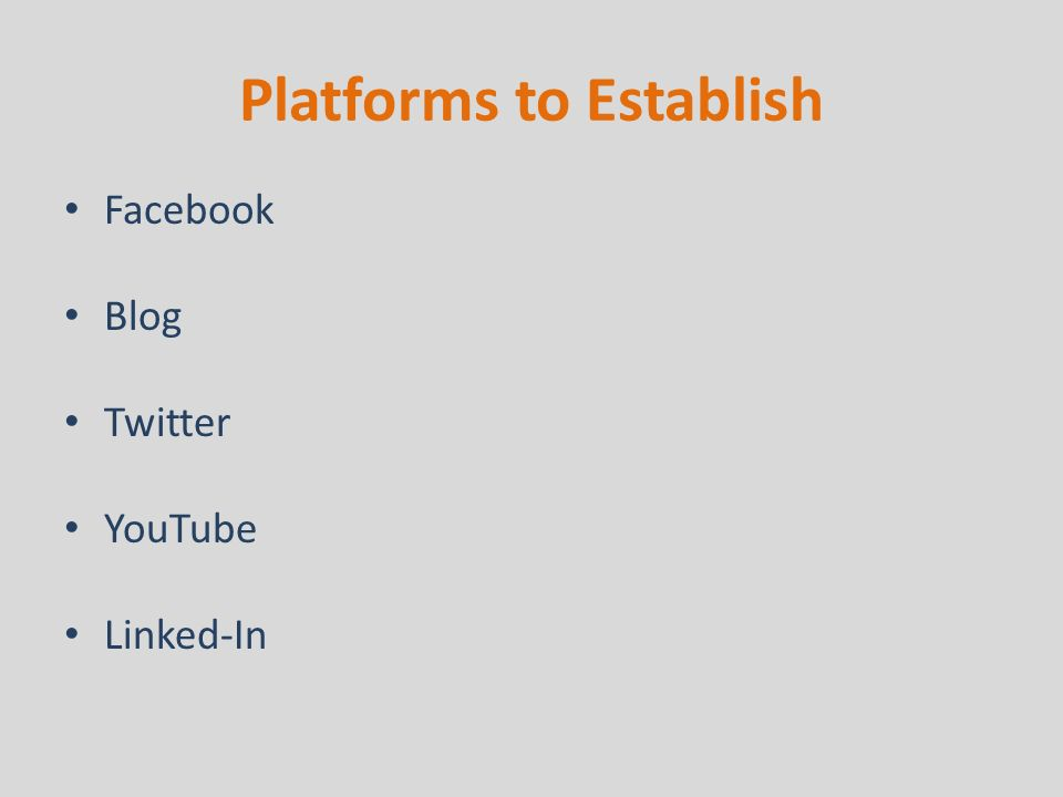 Platforms to Establish Facebook Blog Twitter YouTube Linked-In