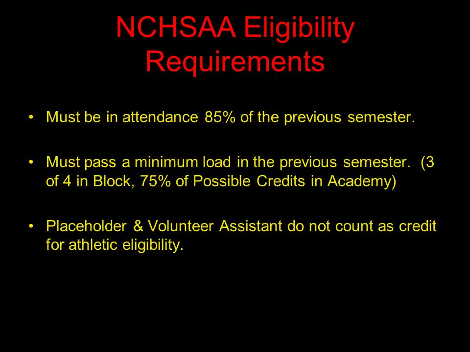 NCHSAA Eligibility Requirements Must be in attendance 85% of the previous semester.
