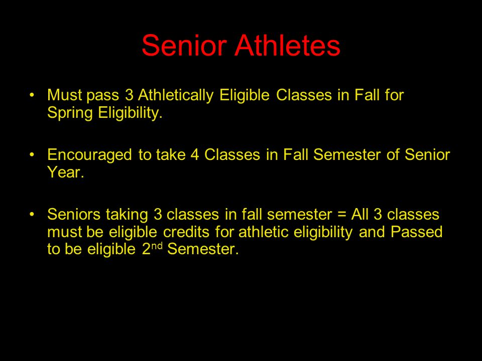 Senior Athletes Must pass 3 Athletically Eligible Classes in Fall for Spring Eligibility.