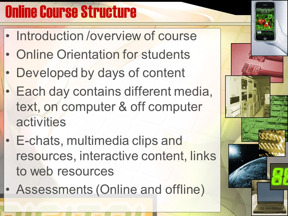 Online Course Structure Introduction /overview of course Online Orientation for students Developed by days of content Each day contains different media, text, on computer & off computer activities E-chats, multimedia clips and resources, interactive content, links to web resources Assessments (Online and offline)