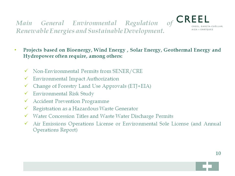 Main General Environmental Regulation of Renewable Energies and Sustainable Development.