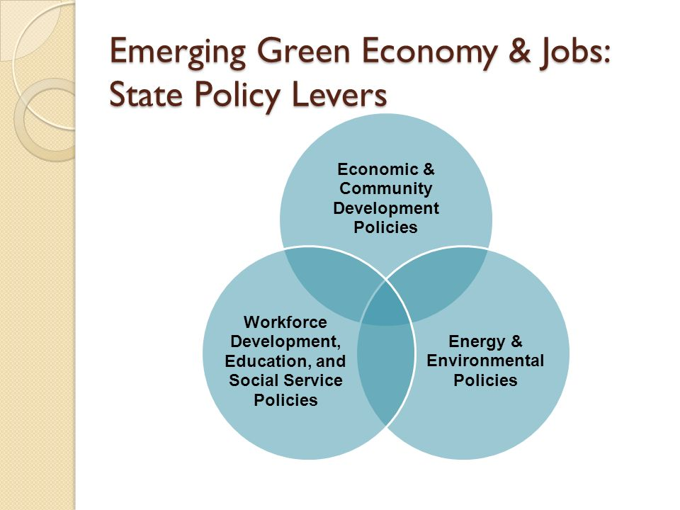 Emerging Green Economy & Jobs: State Policy Levers Economic & Community Development Policies Energy & Environmental Policies Workforce Development, Education, and Social Service Policies