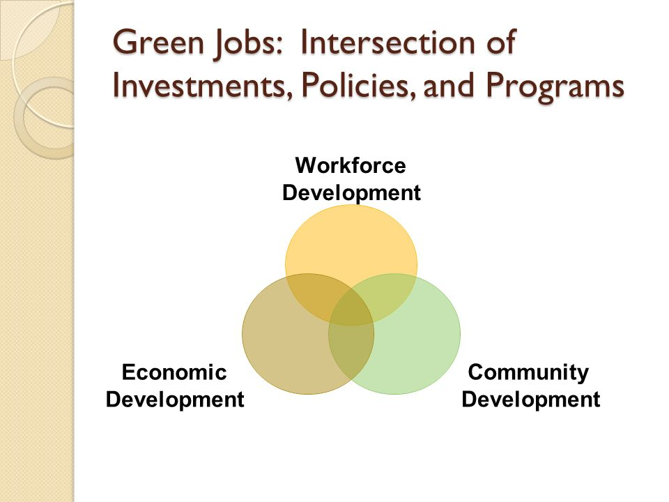 Green Jobs: Intersection of Investments, Policies, and Programs Workforce Development Community Development Economic Development