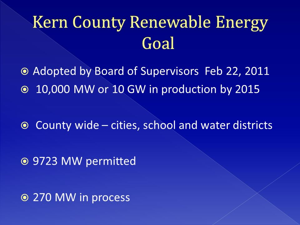  Adopted by Board of Supervisors Feb 22, 2011  10,000 MW or 10 GW in production by 2015  County wide – cities, school and water districts  9723 MW permitted  270 MW in process