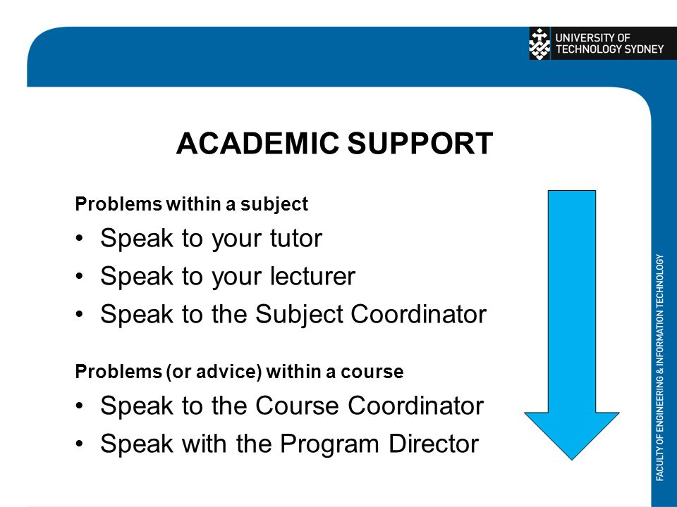 ACADEMIC SUPPORT Problems within a subject Speak to your tutor Speak to your lecturer Speak to the Subject Coordinator Problems (or advice) within a course Speak to the Course Coordinator Speak with the Program Director