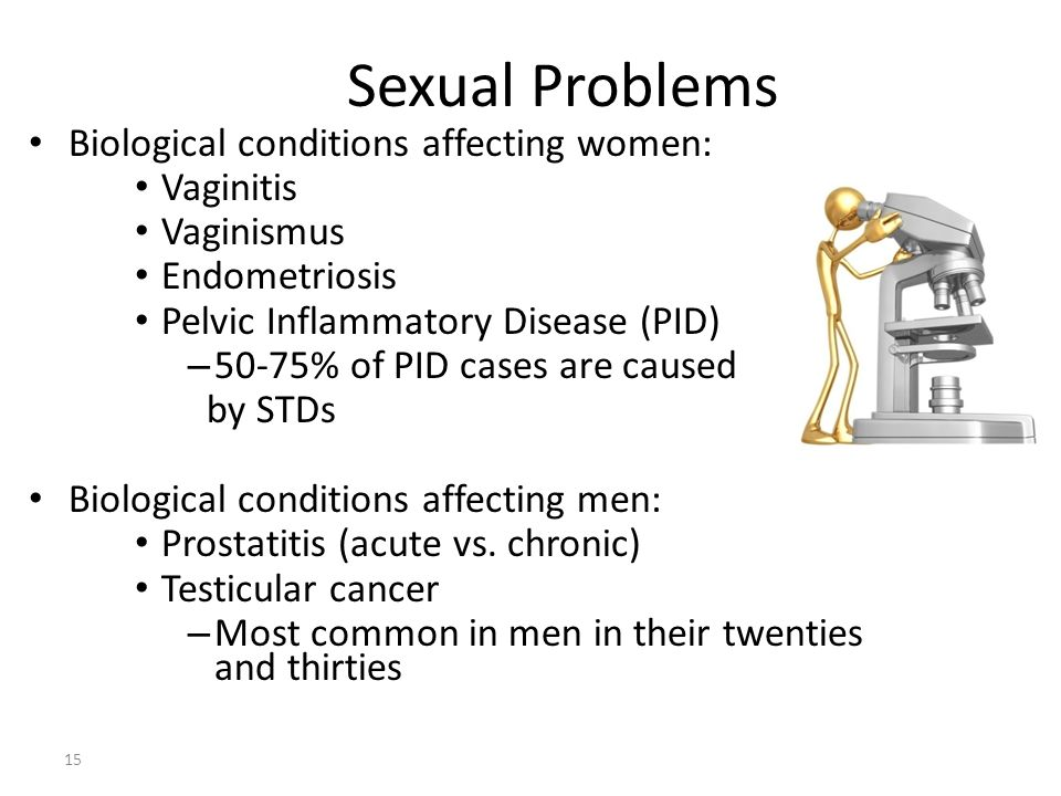 Sexual Problems 15 Biological conditions affecting women: Vaginitis Vaginismus Endometriosis Pelvic Inflammatory Disease (PID) – 50-75% of PID cases a