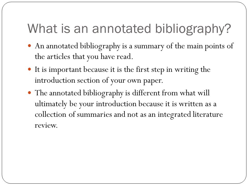 Introduction to annotated bibliography