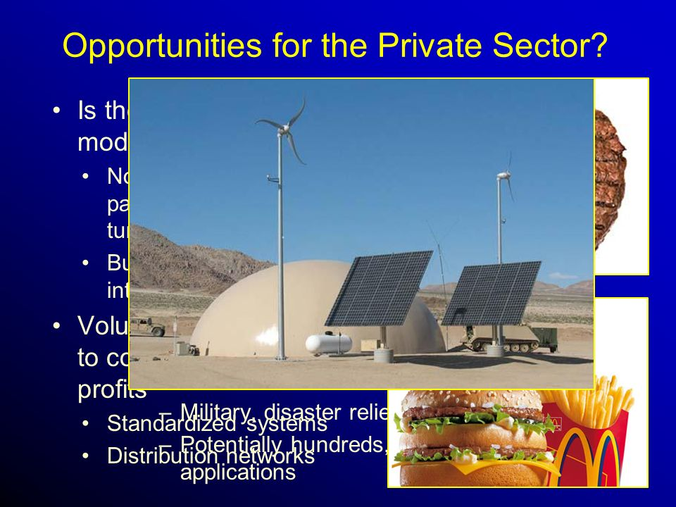 Opportunities for the Private Sector. –Military, disaster relief applications.