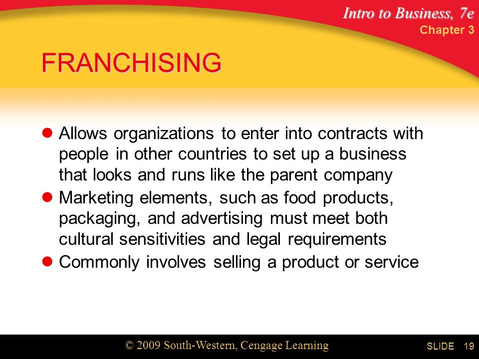 Intro to Business, 7e © 2009 South-Western, Cengage Learning SLIDE Chapter 3 19 FRANCHISING Allows organizations to enter into contracts with people in other countries to set up a business that looks and runs like the parent company Marketing elements, such as food products, packaging, and advertising must meet both cultural sensitivities and legal requirements Commonly involves selling a product or service
