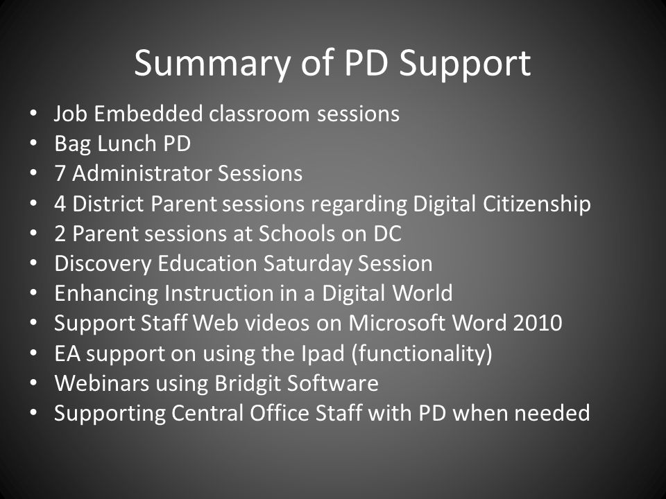Summary of PD Support Job Embedded classroom sessions Bag Lunch PD 7 Administrator Sessions 4 District Parent sessions regarding Digital Citizenship 2 Parent sessions at Schools on DC Discovery Education Saturday Session Enhancing Instruction in a Digital World Support Staff Web videos on Microsoft Word 2010 EA support on using the Ipad (functionality) Webinars using Bridgit Software Supporting Central Office Staff with PD when needed