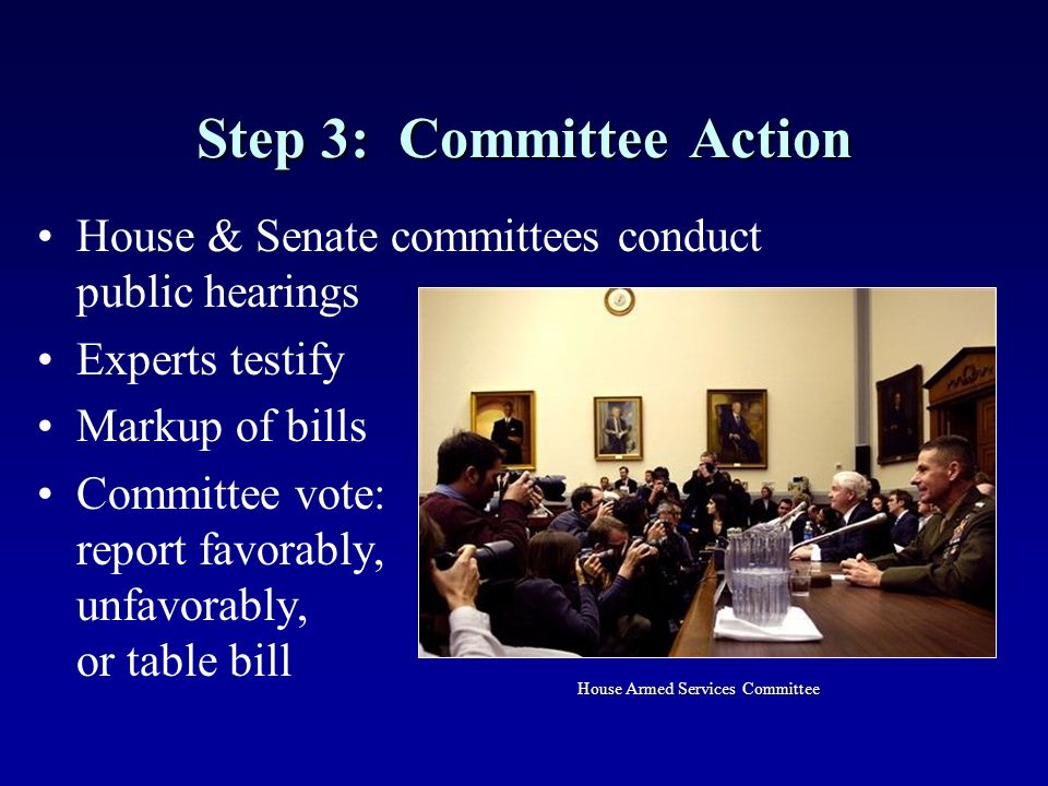 Step 3: Committee Action House & Senate committees conduct public hearings Experts testify Markup of bills Committee vote: report favorably, unfavorably, or table bill House Armed Services Committee