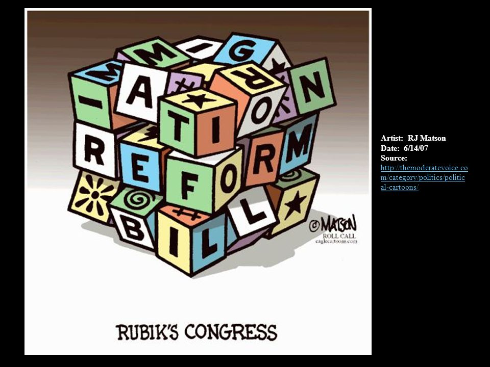 Artist: RJ Matson Date: 6/14/07 Source: http://themoderatevoice.co m/category/politics/politic al-cartoons/ http://themoderatevoice.co m/category/politics/politic al-cartoons/