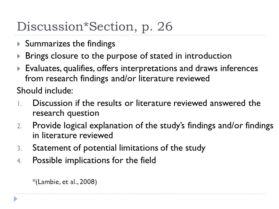 Discussion Section Of Dissertation