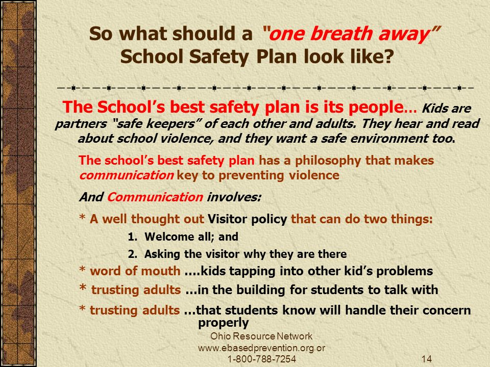 Ohio Resource Network   or So what should a one breath away School Safety Plan look like.