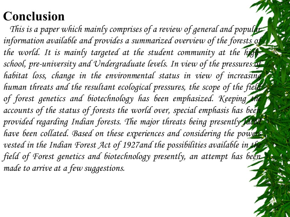 rainforest essay conclusion Free essays & term papers - rainforest, environmental science we are dedicated to helping students with their everyday college needs if you have any questions or comments please feel free.