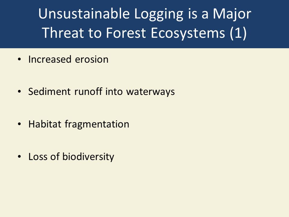 Unsustainable Logging is a Major Threat to Forest Ecosystems (1) Increased erosion Sediment runoff into waterways Habitat fragmentation Loss of biodiversity