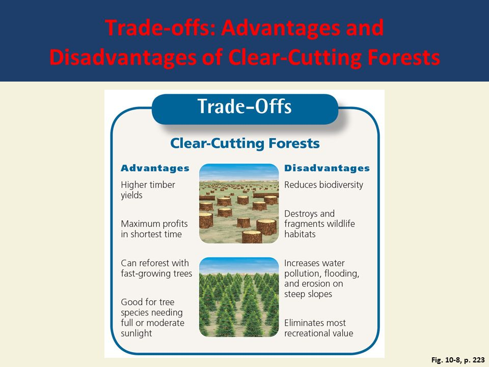 Trade-offs: Advantages and Disadvantages of Clear-Cutting Forests Fig. 10-8, p. 223