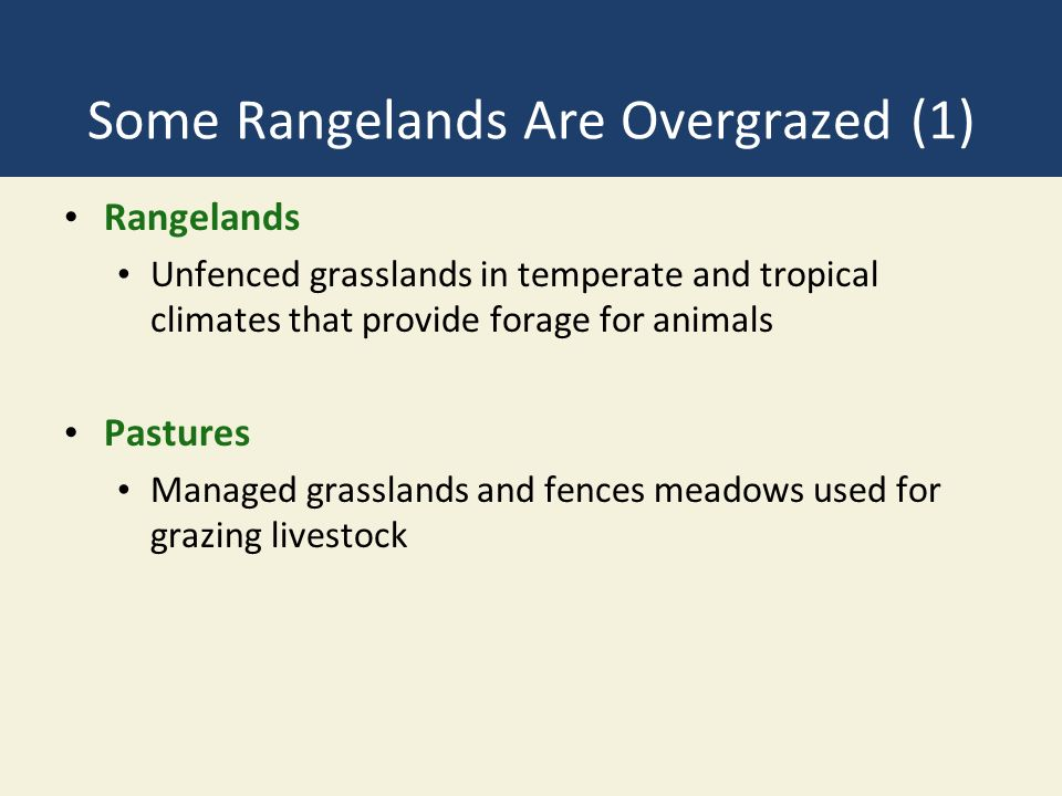 Some Rangelands Are Overgrazed (1) Rangelands Unfenced grasslands in temperate and tropical climates that provide forage for animals Pastures Managed grasslands and fences meadows used for grazing livestock