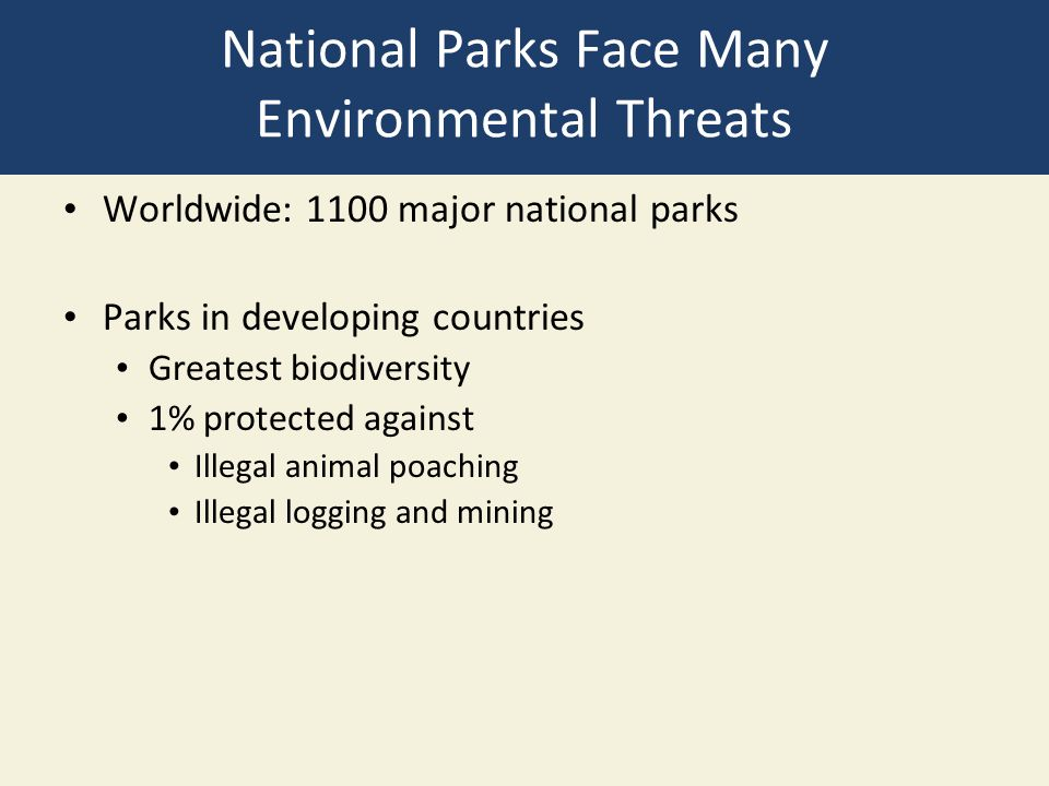 National Parks Face Many Environmental Threats Worldwide: 1100 major national parks Parks in developing countries Greatest biodiversity 1% protected against Illegal animal poaching Illegal logging and mining