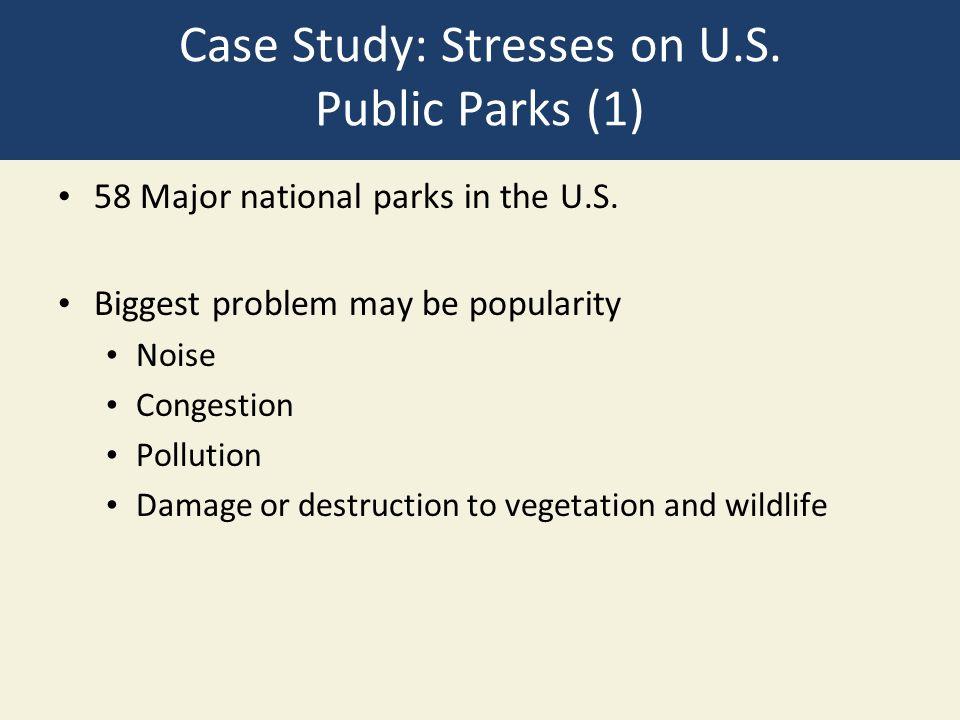 Case Study: Stresses on U.S. Public Parks (1) 58 Major national parks in the U.S.