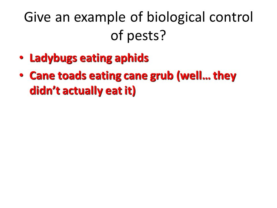 Give an example of biological control of pests.