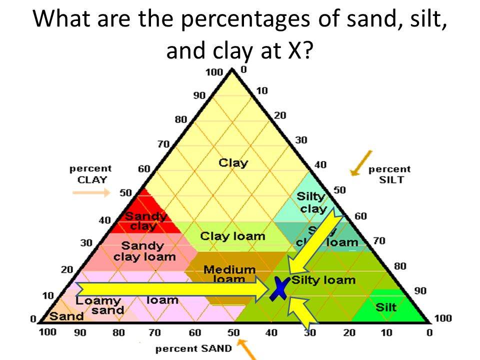 What are the percentages of sand, silt, and clay at X