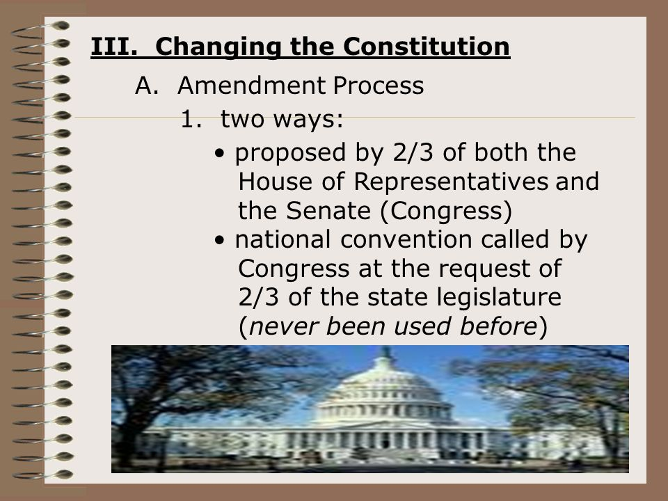 III. Changing the Constitution A. Amendment Process 1.