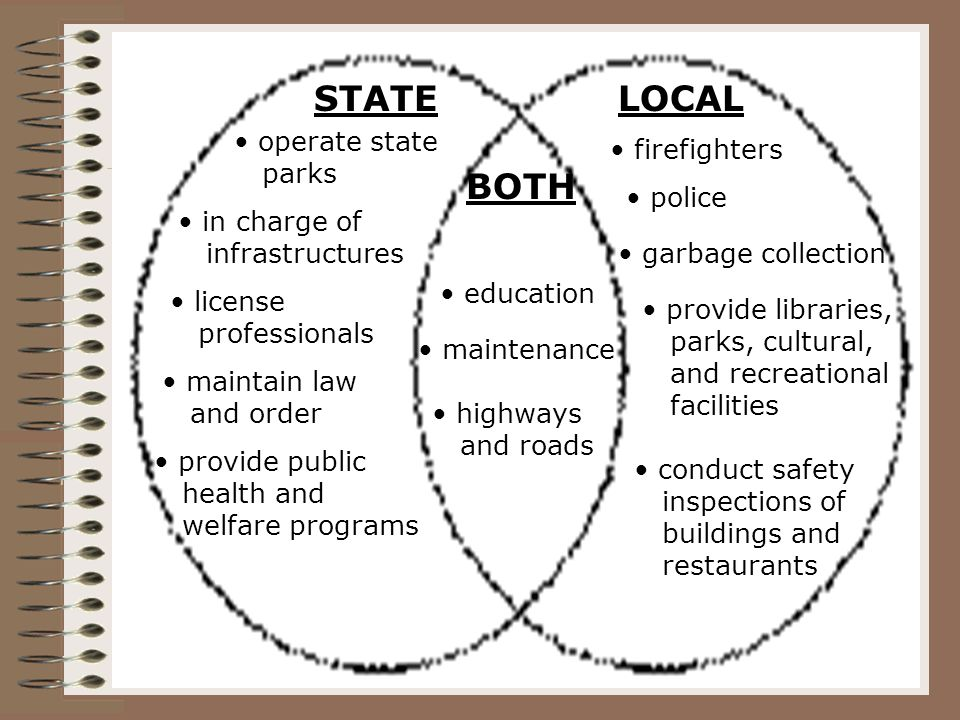 STATELOCAL BOTH operate state parks in charge of infrastructures license professionals maintain law and order provide public health and welfare programs firefighters police garbage collection provide libraries, parks, cultural, and recreational facilities conduct safety inspections of buildings and restaurants education maintenance highways and roads