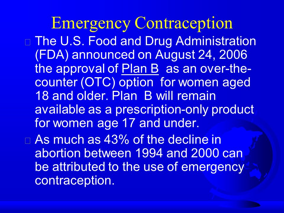 Emergency Contraception  The U.S.