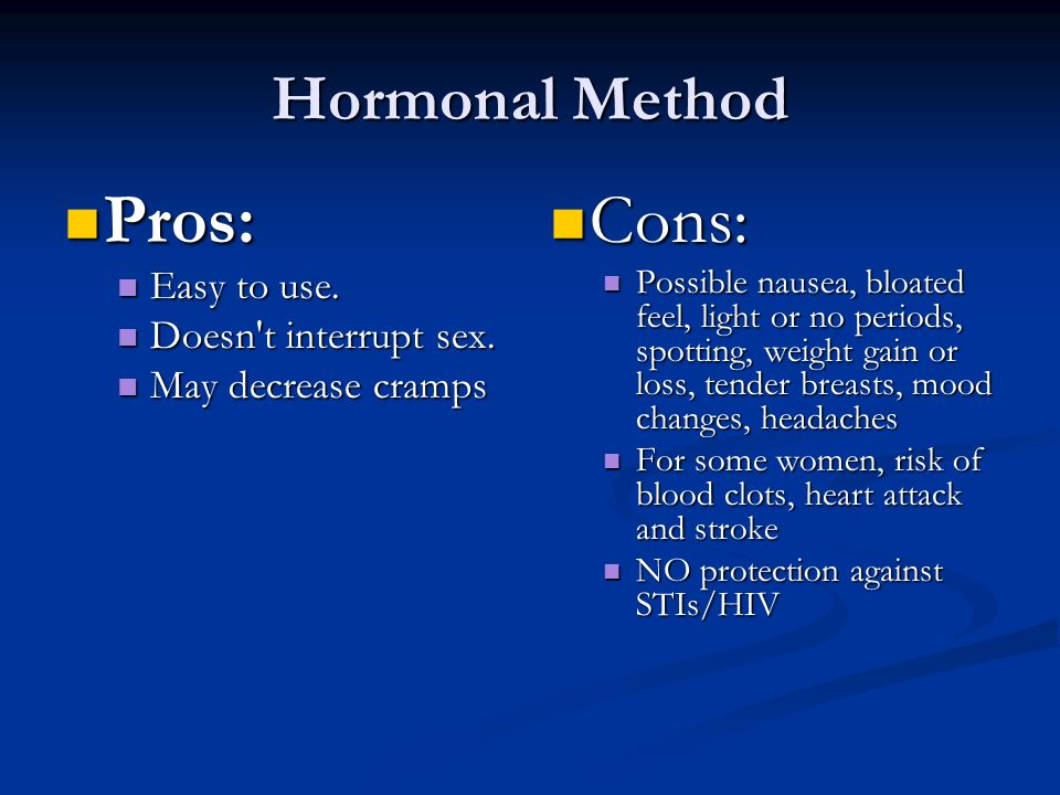 Hormonal Method Pros: Pros: Easy to use. Easy to use.