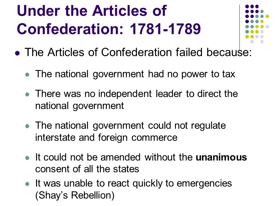 1781 1789 articles confederation provided united states ef