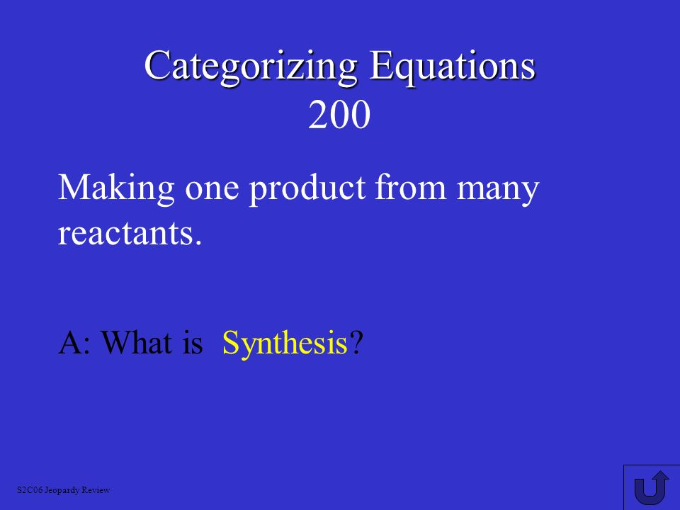 Categorizing Equations Categorizing Equations 100 An exothermic reaction that involves oxygen to form the oxides of the elements in a reactant.
