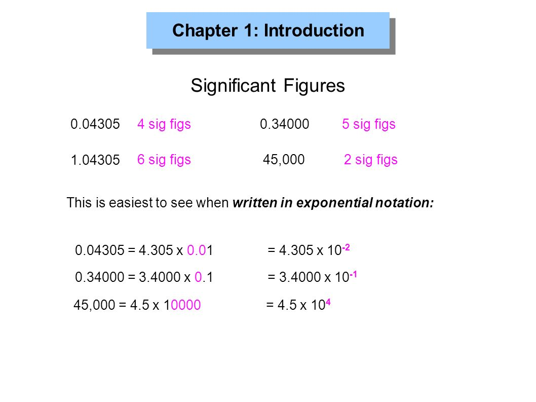 Chapter 1: Introduction Significant Figures sig figs sig figs sig figs 45,0002 sig figs This is easiest to see when written in exponential notation: = x 0.01 = x = x 0.1 = x ,000 = 4.5 x = 4.5 x 10 4