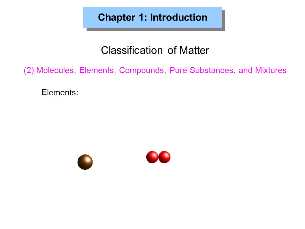 Chapter 1: Introduction Classification of Matter Elements: (2) Molecules, Elements, Compounds, Pure Substances, and Mixtures