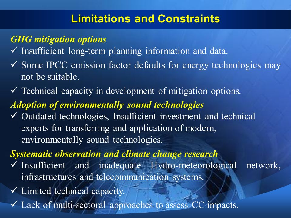 GHG mitigation options Insufficient long-term planning information and data.