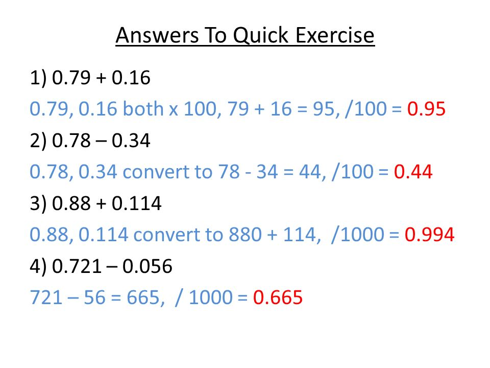 DECIMAL ARITHMETIC. Equivalent Additions You may be asked to do ...