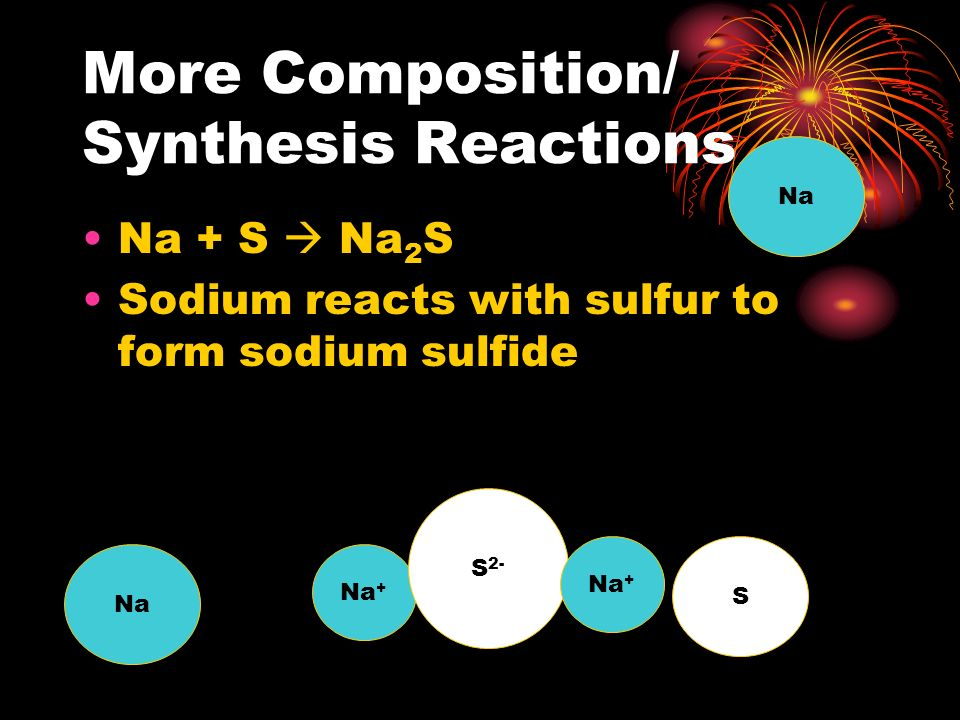 More Composition/ Synthesis Reactions Fe + S  FeS Iron reacts with sulfur to form iron (II) sulfide Fe S Fe 2+ S 2-
